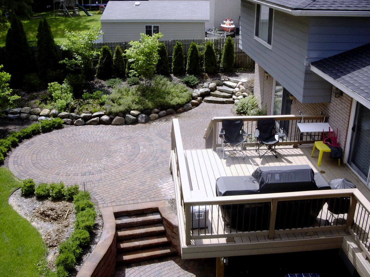 ... Garden Design With Trash To Treasure: Trex Deck, Patio, Walls, Plants,  Earthwork  With House Landscaping From Turnersannarbor.com ...